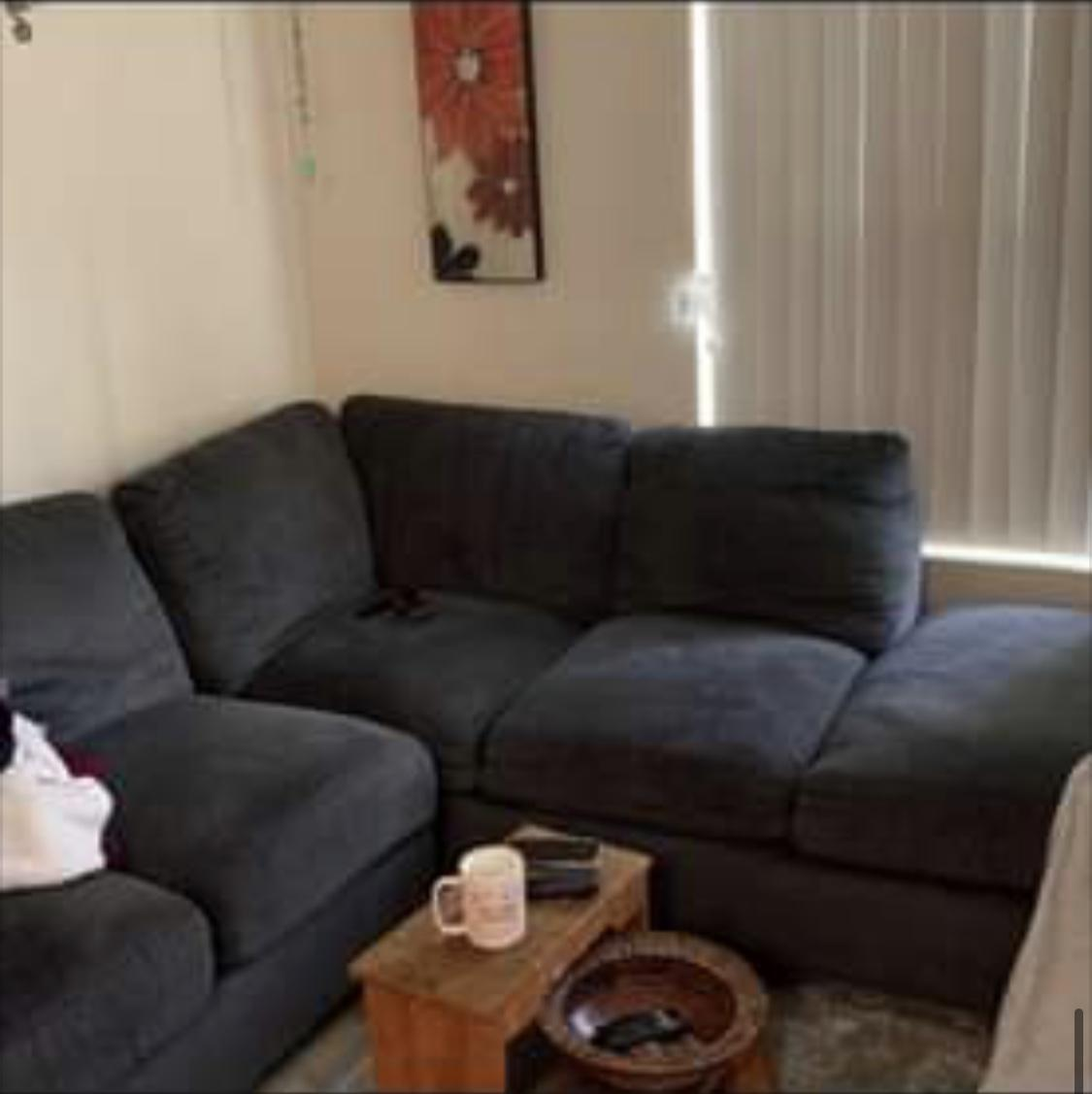 Blue L shape couch