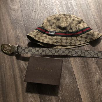 Gucci bucket hat and belt