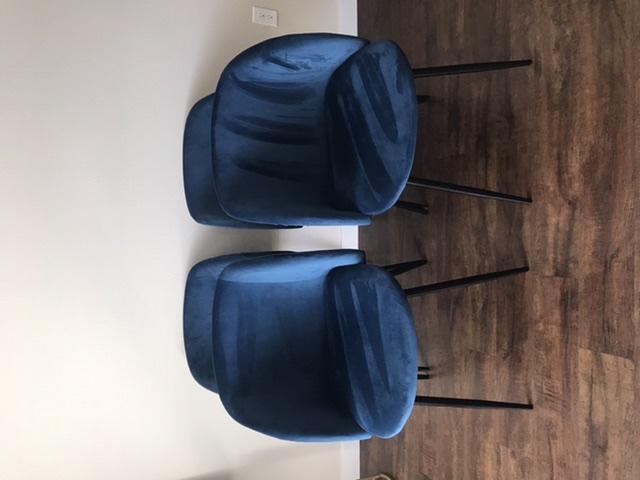 Blue velvet dining/ living room chairs