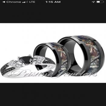 camo his and hers wedding set