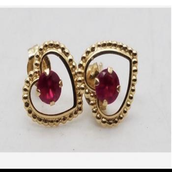 14k gold earrings ruby 3.1mm